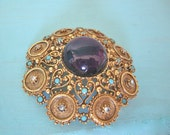 Reserved for Spagot - Florenza Brooch-Pendant Combination with Huge Purple Glass Cabochon