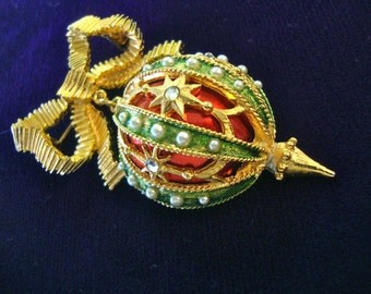 Mylu Christmas Orb Brooch Designer Signed Pin Retro Fashion Jewelry