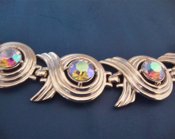 Vintage Sarah Coventry Bridal Bracelet Ribbons Mad Men Retro Groovy Party Jewelry
