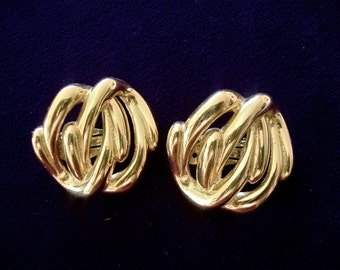 Vintage Givenchy Earrings Gold Tone Designer Runway Haute Couture Mad Men Retro Jewelry