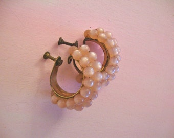 Pastel Pink Beads on Metal Vintage Earrings