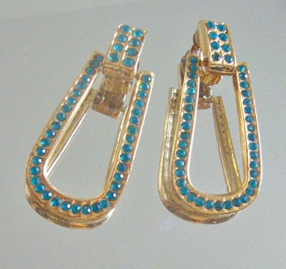 Aqua Rhinestone Runway Earrings Mad Men Retro Glamor Spring Fresh Jewelry