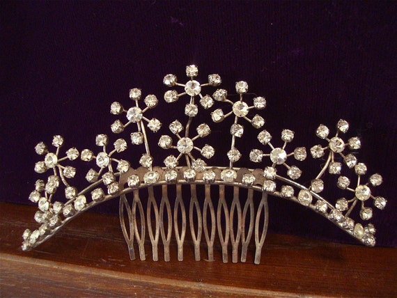 Rhinestone Crown Tiara Hair Comb