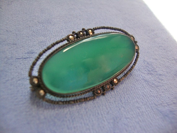 Chrysoprase Stering Brooch Pin
