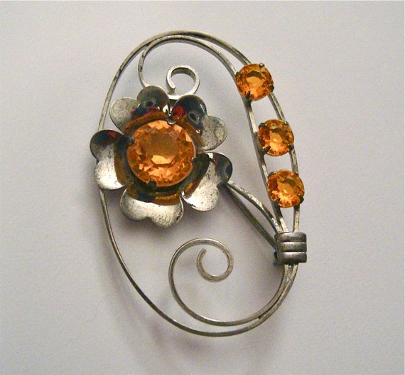 Art Nouveau Sterling Signed Brooch with Citrine Glass Stones