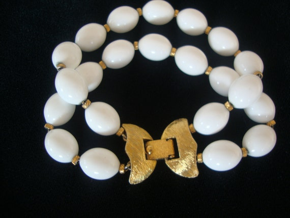Monet Vintage White Beaded Bracelet