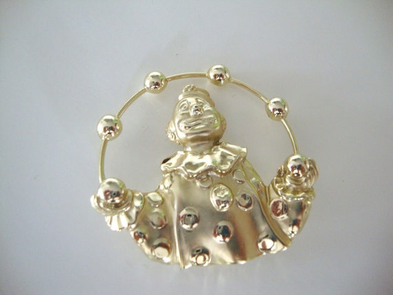 Vintage Clown Juggling Pin by American Jewelry Co. Juggling Brooch AJC