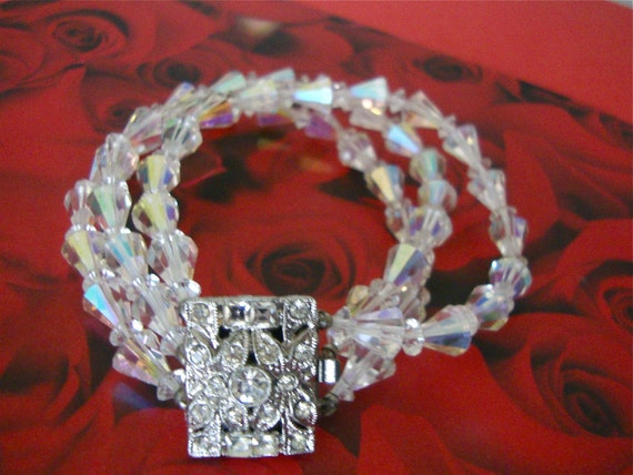 Vintage Crystal Bracelet Bridal Retro Holiday Party Gift Jewelry