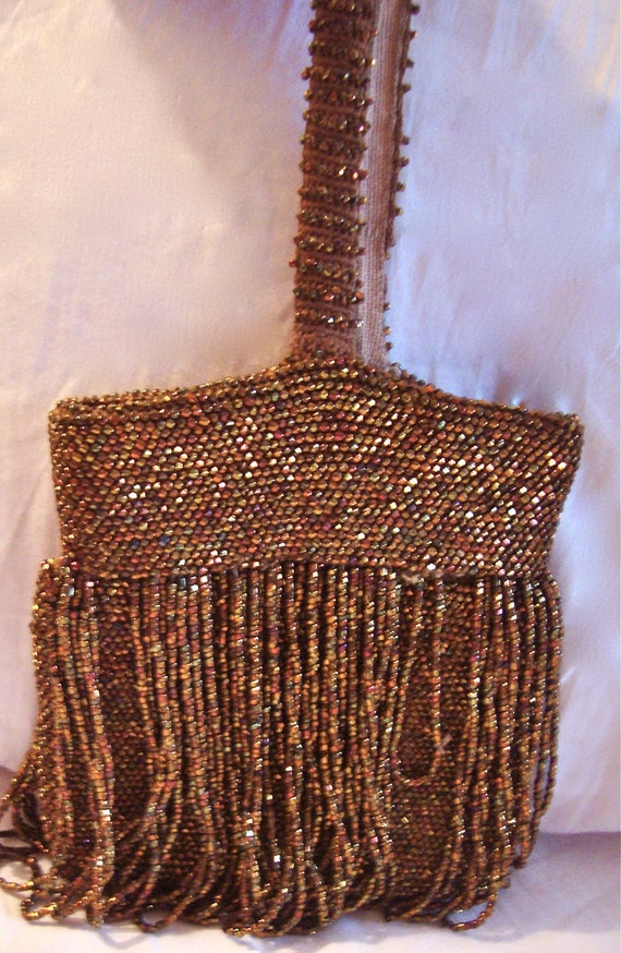 Seed Bead Vintage Purse with Steel Cut and Glass Seed Beads