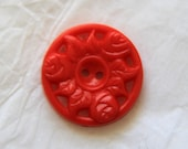Red rose pierced Vintage buttons (set of 4)