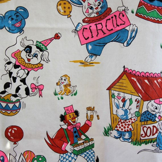 Circus themed colorful vintage fabric juvenile circus animals costumes