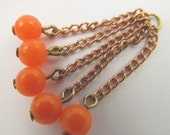 8 Vintage Rustic Orange Bead and Copper Plated Chain Cluster Dangles Ch96