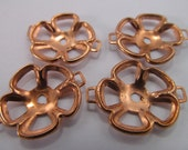 4 Vintage 25mm Copperplated Flower Connectors Mt60