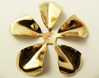 2 Vintage 58mm Gold Plated Five Petaled Flower Components FL10