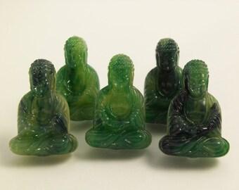 6 Dark Green Buddha Beads Bd04c