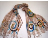 Felted shawl -  beige and multicolor -  The Ammonites