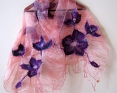 Nunofelted scarf  organza merino wool - pink and purple - The  Flower Murshmallow