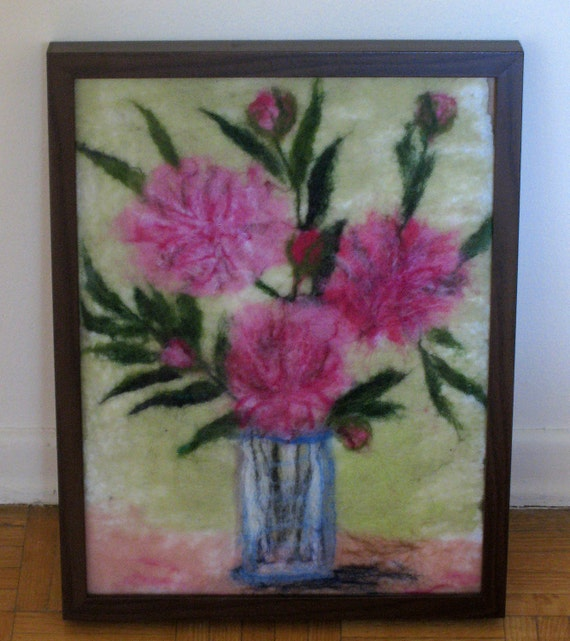 Spring sale, felted wall hanging, wool picture, textile picture, pink, green,yellow, peony, birthday gift idea, summer design, home decor