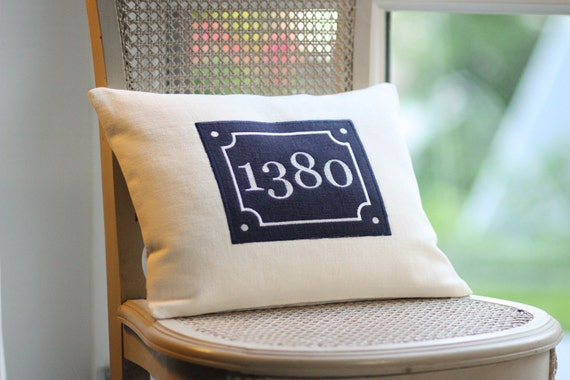 Vintage style decorative  pillow cover with applique French number sign