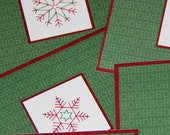 25% off SALE Embroidered Snowflake Card in Green and Red