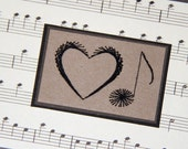 SALE Love Note Embroidered Card Heart and Vintage Sheet Music