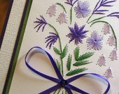 SALE 25% OFF Purple flower bouquet embroidered paper picture (5 x 7)
