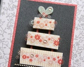 25% OFF SALE Wedding Cake Card in Silver pink and black
