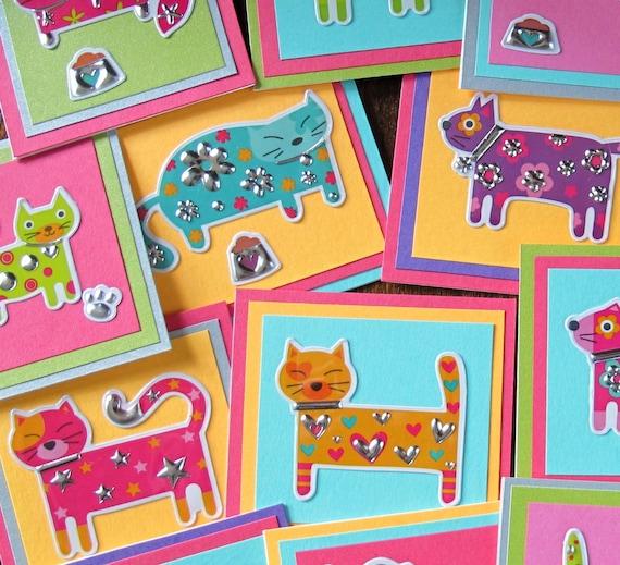 Cat Mini Cards (set of 5) neon