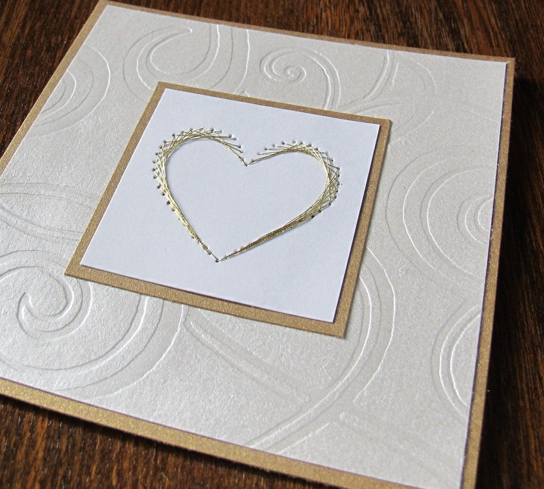 Etsygreetings handmade cards cream and gold wedding card with cream and gold wedding card with embroidered heart kristyandbryce Choice Image