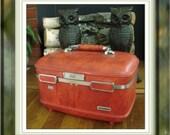 Vintage Red Luggage American Escort Train Case