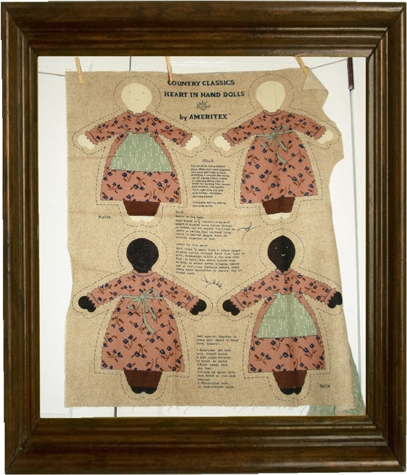SALE .... 1980s Vintage country Dolls Cut and Sew Panel 4 Dolls