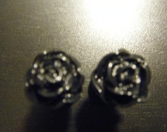 00 Gauge Black Rose Plugs