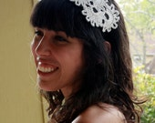 Intricate White Floral Crochet Headband