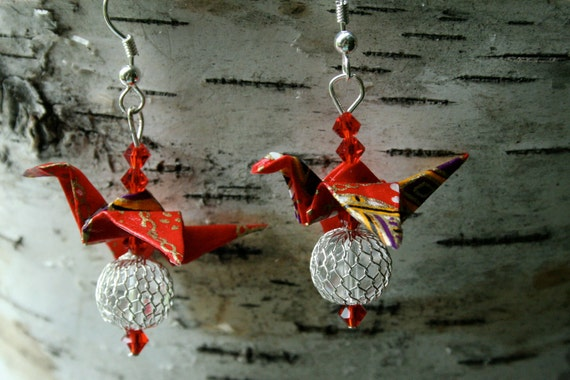 SALE: HALF OFF Royal Red, Yellow & Purple Crystal Ball Origami Miniature Crane Earrings