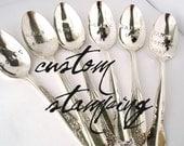 Custom Hand Stamped Spoon, One Vintage Silverplated Spoon