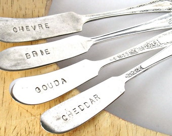Cheese Marker Set, Vintage Silverplated and Handstamped Upcycled Knives