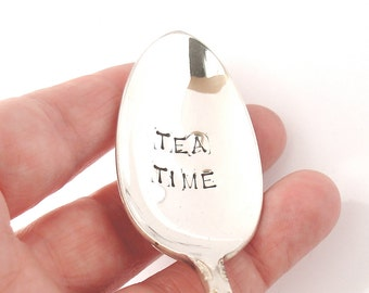 Hand Stamped Vintage Spoon, Tea Time