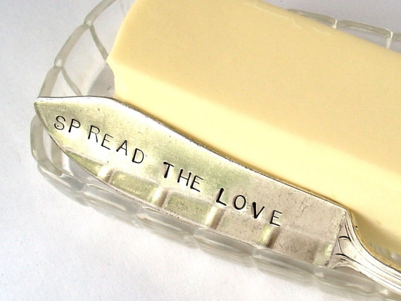 Spread the Love Butter Knife, Handstamped
