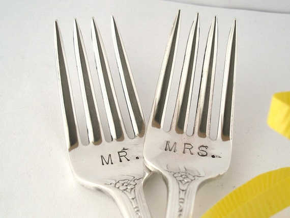 Wedding Forks, Vintage Mr. and Mrs., Dessert or Dinner Silverplated Hand Stamped Table Settings Bride Groom Engagement Gift