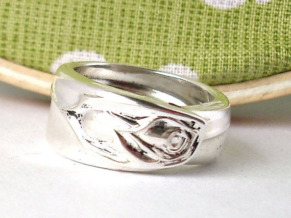 Silver Spoon Ring, size 9, Anniversary Rose 1962