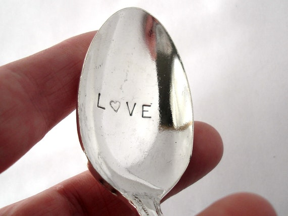 "Vintage Spoon, Hand Stamped ""Love"" with a Heart"