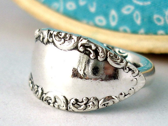 Antique Spoon Ring, Size 6, Savoy 1892