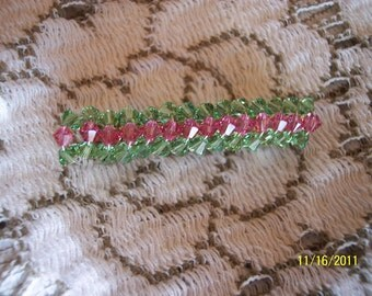Swarovski Crystal Green and Pink Barrette