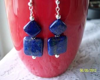 Lapis Square and Diamond Dangle Earrings