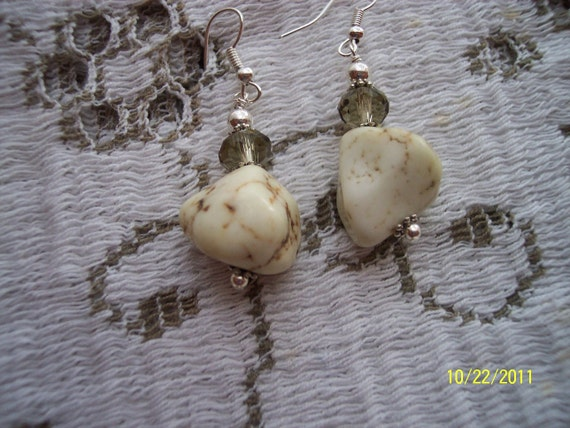 White Turquoise Nugget Earrings