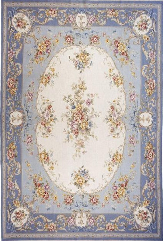 French Chateau Country Blue Shabby Chic Dollhouse Area Rug