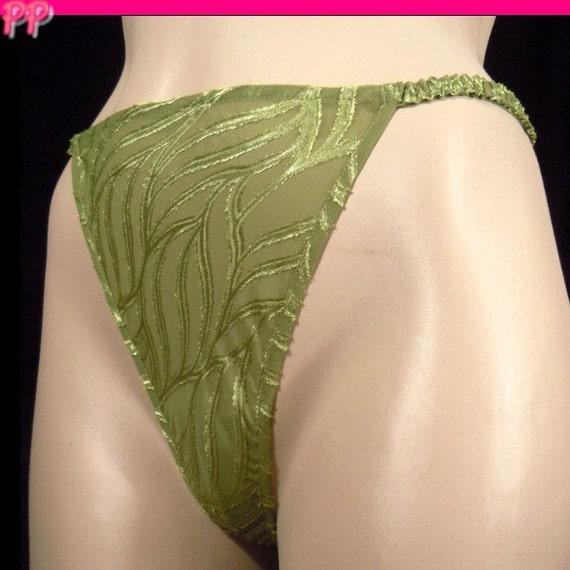 Victoria's Secret Vintage Panties Shiny Organic Leaf Bikini Size Small 5 SM Green Thong