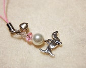pink chord Dachshund cell phone charm pearl pink clear crystal with bell