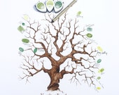 Hand Drawn Family / Wedding Thumbprint Tree, (Custom Text with Complete Kit, 11x14)