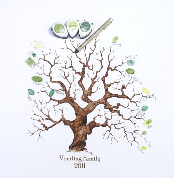Hand Drawn Wedding of Family Thumbprint Tree (with Custom Text, 11x14)